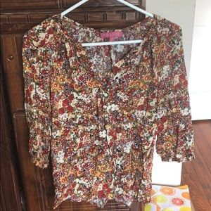 Fall Floral 3/4 Sleeve Blouse